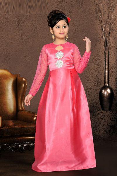 Pink Satin Girls Gown (NFG-093)