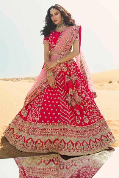 Pink Silk Indian Lehenga Choli (NWG-666)