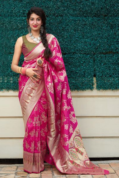 Pink Soft Silk Sari (NWSA-5133)
