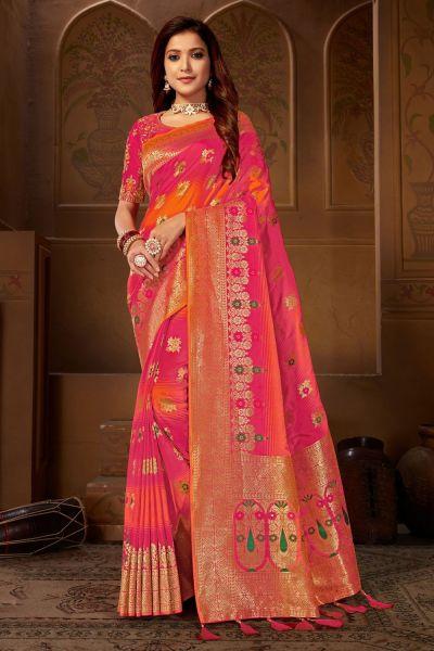 Pink Weaving Jacquard Saree (NWSA-4817)