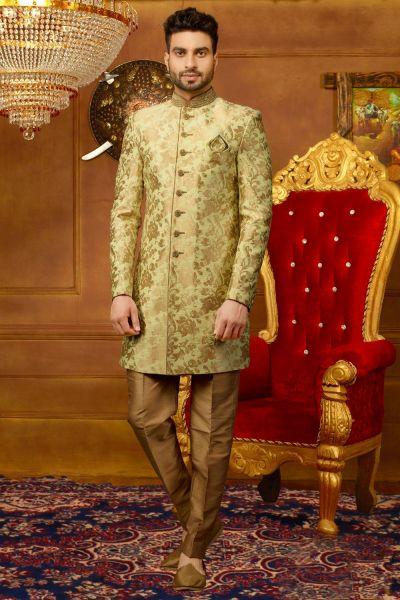 Pista Gold Jaquard Silk Brocade Indo Western (NMK-3930)