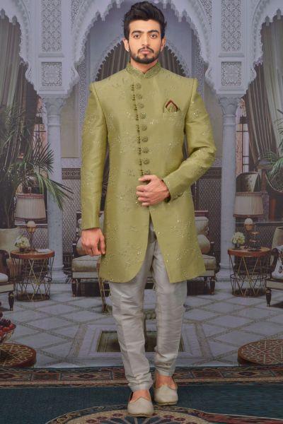 Pista Green Art Banarasi Silk Indo Western (NMK-4759)
