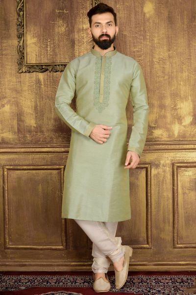 Pista Green Art Banarasi Silk Kurta (NMK-3531)