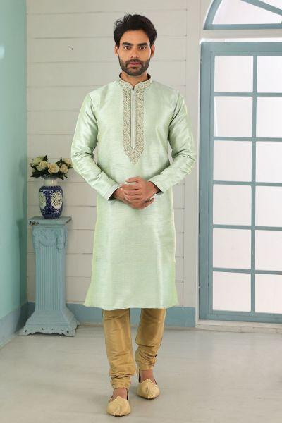 Pista Green Art Banarasi Silk Kurta Pajama (NMK-5046)