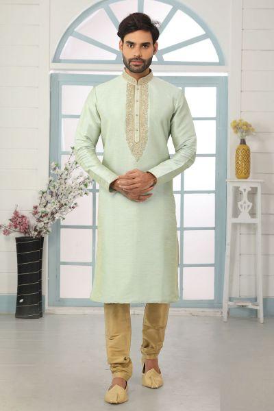 Pista Green Art Banarasi Silk Mens Kurta Pajama (NMK-5051)