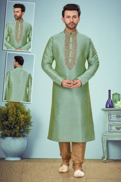 Pista Green Banarasi Jaquard Mens Kurta Pajama (NMK-5084)