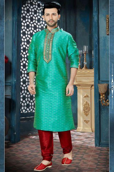 Pista Green Chanderi Jaquard Kurta Pajama (NMK-3816)