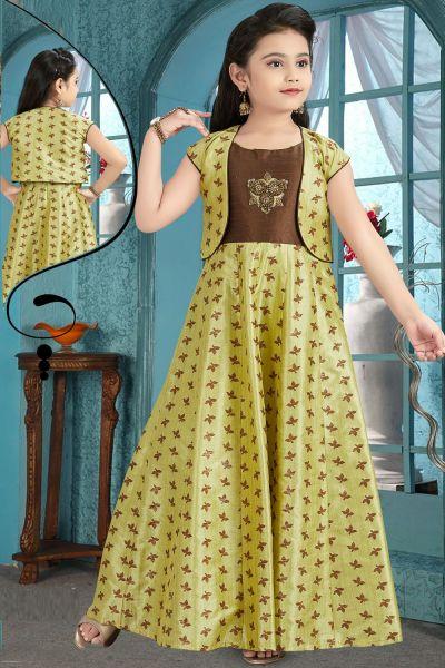 Pista Green, Coffee Brocade Girls Gown (NFG-202)