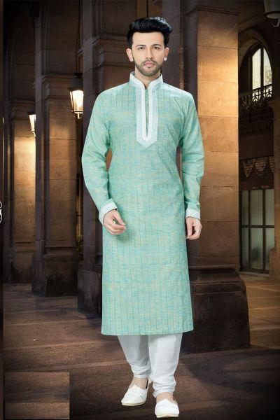 Pista Green Cotton Designer Kurta Pajama (NMK-3750)