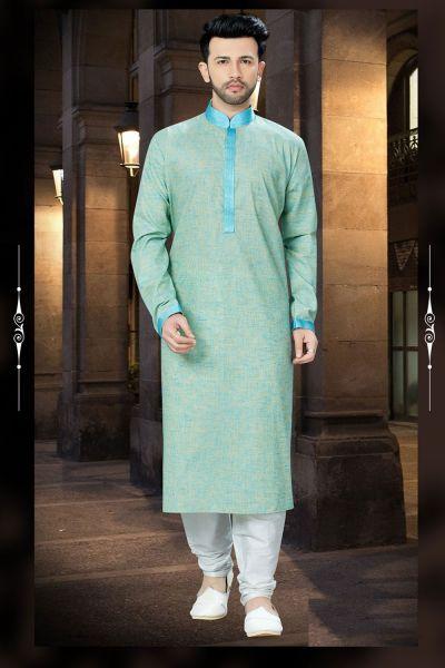 Pista Green Cotton Regular Kurta Pajama (NMK-3755)
