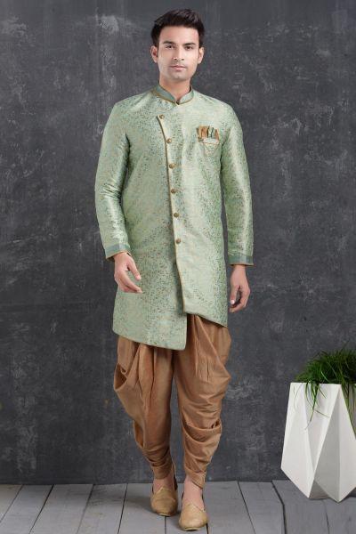 Pista Green Jaquard Silk Brocade Indo Western Kurta (NMK-5005)