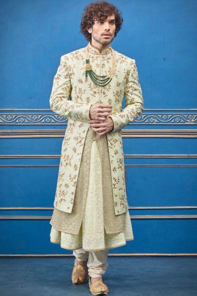 Pista Green Pure Silk Sherwani with Anarkali Kurta (NMK-4718)