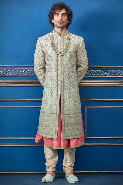 Pista Green Pure Silk Sherwani with Anarkali Kurta (NMK-4741)