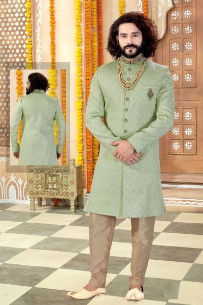 Pista Jaquard Mens Sherwani (NMK-4319)