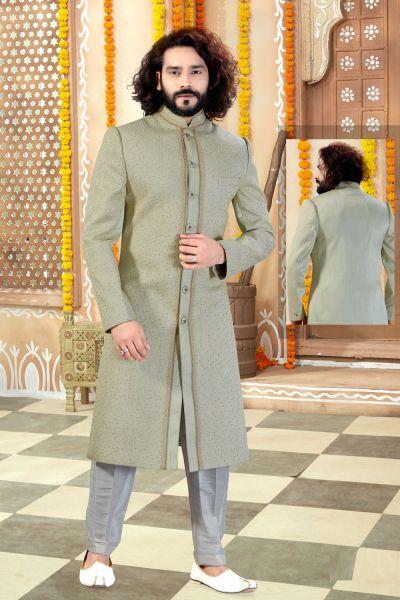 Pista Silk Sherwani (NMK-4327)