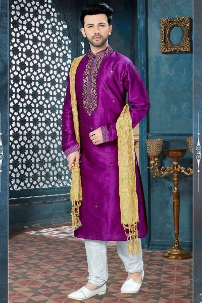 Purple Art Dupion Mens Kurta Pajama (NMK-3809)