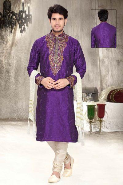 Purple Art Silk Designer Kurta Pajama (NMK-2301)