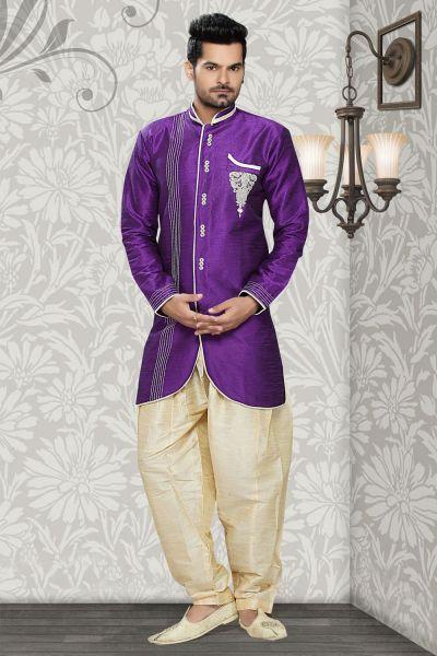 Purple Art Silk Mens Indo Western (NMK-2369)