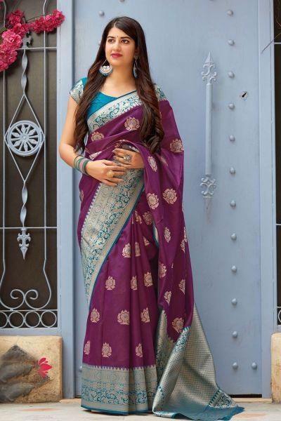 Purple Banarasi Silk Party Saree (NWSA-4376)