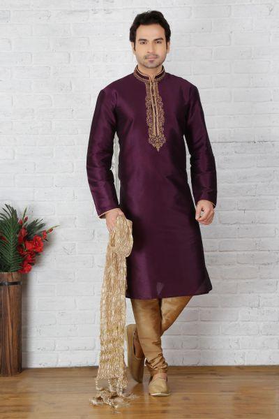 Purple Dupion Art Silk Casual Kurta Pajama (NMK-3724)