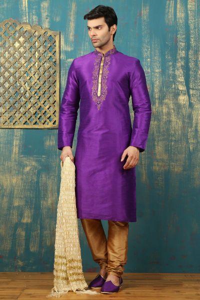 Purple Dupion Art Silk Kurta Pajama (NMK-3314)