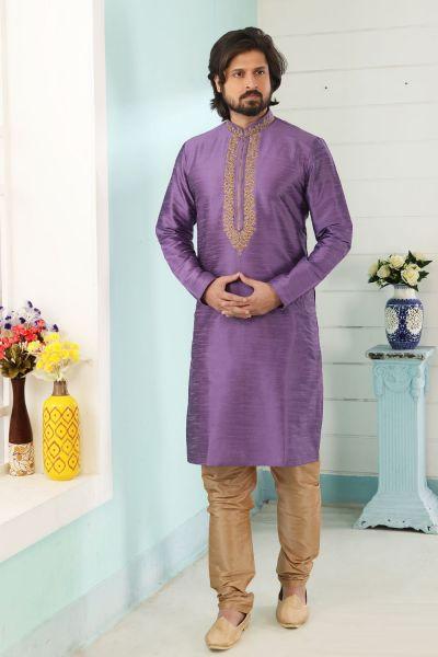 Purple Dupion Art Silk Kurta Pajama (NMK-5078)