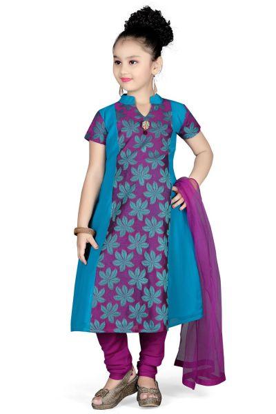 Purple Georgette Girls Salwar Kameez (NFG-097)