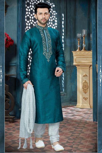 Rama Blue Art Dupion Designer Kurta Pajama (NMK-3819)