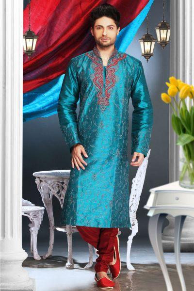 Rama Blue Art Dupion Kurta Pajama (NMK-1585)