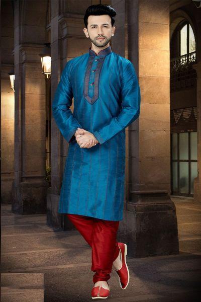Rama Blue Art Dupion Regular Kurta Pajama (NMK-3770)