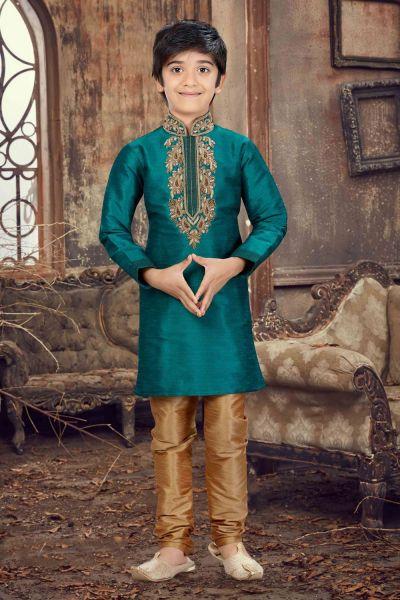 Rama Blue Banglori Silk Kids Kurta Pajama (NKK-616)