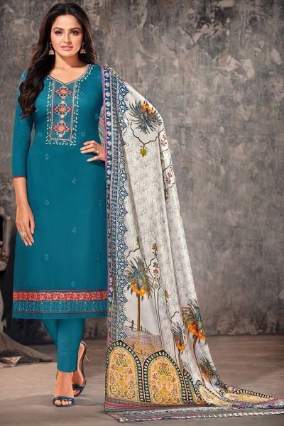 Rama Blue Jam Cotton Salwar Suit (NWS-6010)