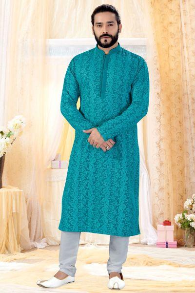 Rama Georgette Lucknowi Kurta Pajama (NMK-4243)