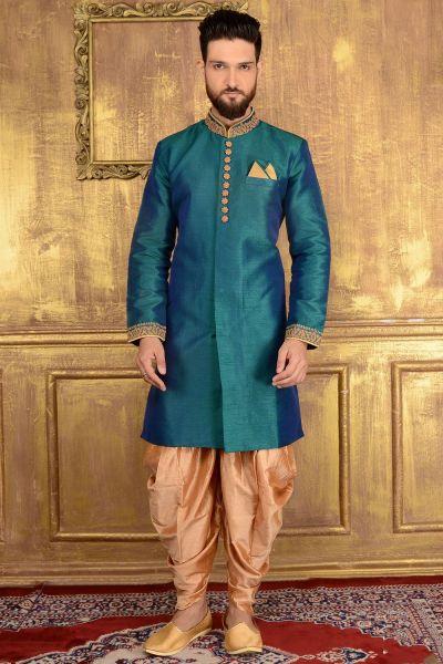 Rama Green Art Banarasi Silk Indo western (NMK-3599)
