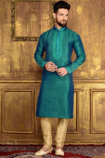 Rama Green Art Banarasi Silk Kurta (NMK-3528)