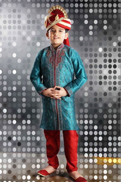Rama Green Art Dupion Kids Kurta Pajama (NKK-266)