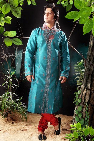 Rama Green Art Dupion Men Kurta Pajama (NMK-1182)