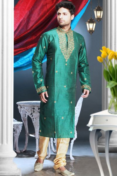 Rama Green Art Silk Designer Kurta Pajama (NMK-1620)