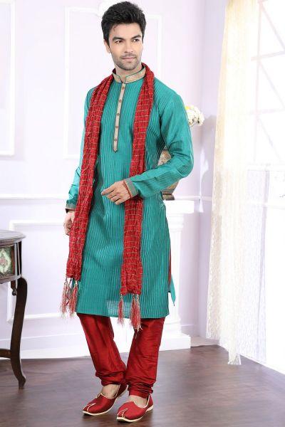 Rama Green Art Silk Designer Kurta Pajama (NMK-4055)