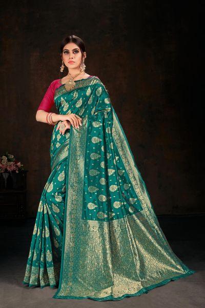 Rama Green Banarasi Silk Saree (NWSA-5108)
