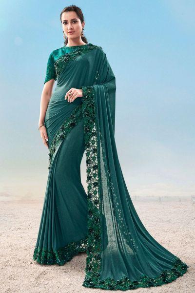 Rama Green Imported Fabric Saree (NWSA-5036)