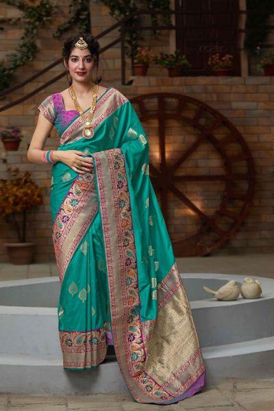 Rama Green Silk Saree (NWSA-4675)