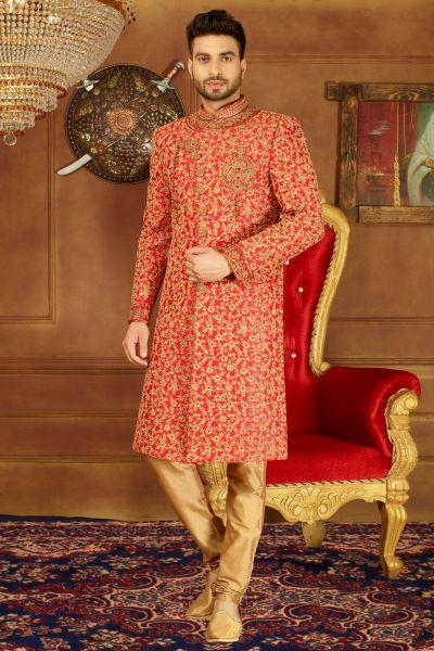 Red Art Banarasi Silk Grooms Sherwani (NMK-3899)