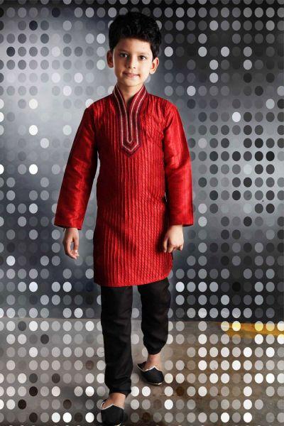 Red Art Dupion Boys Kurta Pajama (NKK-253)
