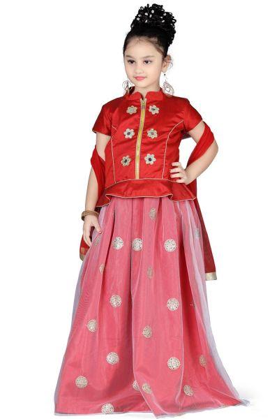 Red Art Silk Girls Lehenga Choli (NFG-126)
