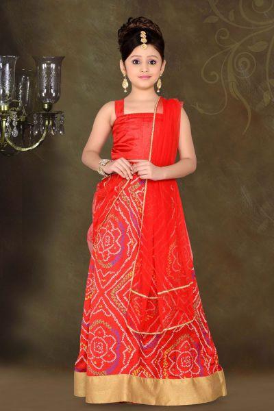 Red Art Silk Kids Lehenga Choli (NFG-058)