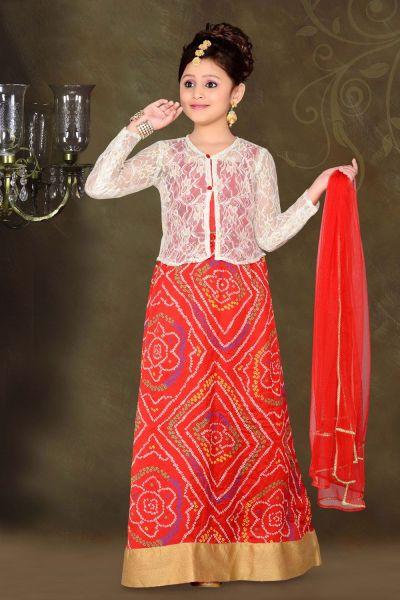 Red Art Silk Kids Lehenga Choli (NFG-059)
