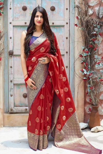 Red Banarasi Silk Festive Saree (NWSA-4375)