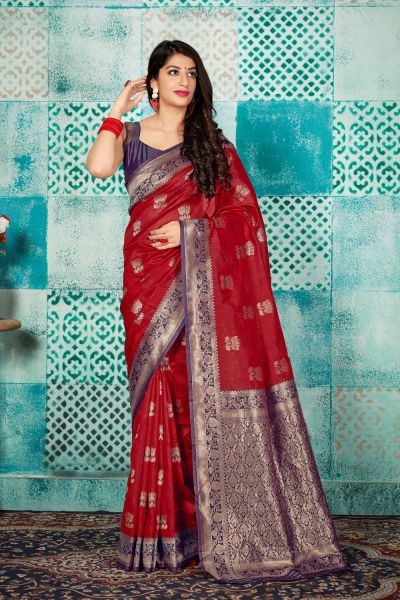 Red Banarasi Silk Saree (NWSA-4603)