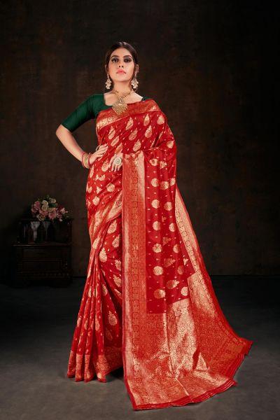 Red Banarasi Silk Sari (NWSA-5109)